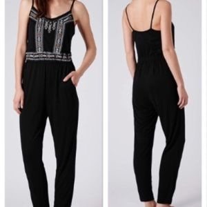 TopShop Embroidered Cotton Jumpsuit w Pockets
